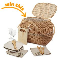 Eco Picnic Basket for Two This lovely natural willow basket contains everything you need for an elegant, environmentally friendly outdoor me...