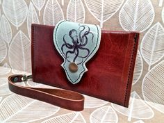 Leather Wallet Phone Case with Wrist Strap & Zipper by Hollyhawk