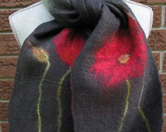Poppy Scarf, Merino Scarf, Wool Scarf, Winter Scarf, Soft Scarf, Cozy Scarf, Poppy design, Red Poppy Scarf, Felted Scarf, Felt Scarf