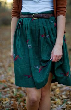 """""""Lovely Saturday in Fall & me & him are out on a stroll"""" look. Tonight's gonna be fun the way things are going!  I'd prefer (if birds) eagles on my skirt or dot pattern."""