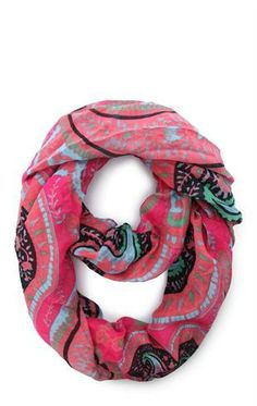 Deb Shops #infinity #scarf with swirled #paisley design