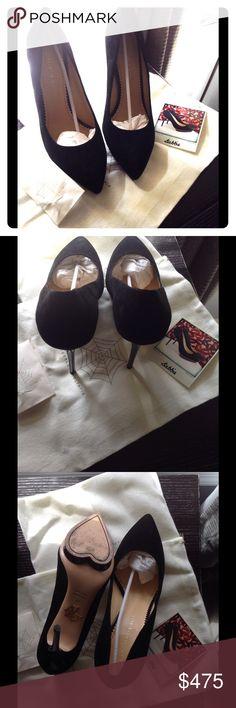 Black suede heels *** Charlotte Olympia Black evening suede platform heels slightly worn!  Duster bad, heel taps & Polaroid incl. Charlotte Olympia Shoes Platforms