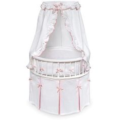 Shop a great selection of Elegance Round Wooden Baby Bassinet Bedding, Canopy, Storage. Find new offer and Similar products for Elegance Round Wooden Baby Bassinet Bedding, Canopy, Storage. Baby Girl Bassinet, Baby Cribs, Girl Cribs, Toile Bedding, Crib Bedding, Crib Sheets, White And Pink Bedding, Pink White, Cradles And Bassinets