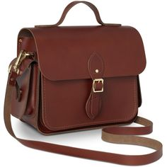 Large Traveller Bag with Side Pockets in Leather Brandy (545 RUB) ❤ liked on Polyvore featuring bags and luggage