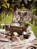 4 Person Picnic Hamper  £59.50,  Dinner Plate Set  £17.50, Side Plate Set  £15, Cereal Bowl Set  £15, download this press image at prshots.com #home #picnic #garden