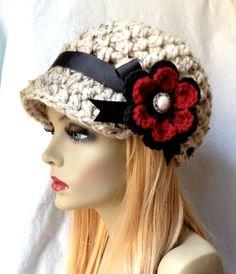 Crochet Womens Hat Newsboy Oatmeal Very Soft by JadeExpressions, $40.00