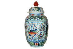 "11"" Porcelain Jar, Fish Scene, on OneKingsLane.com | 11""dia x 23.5""h | 500.00 retail | 319.00 OKL"