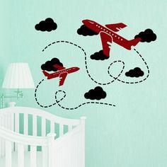 Wall Decal Plane Airplane Air Flight Clouds Boy Nursery Room Vinyl Sticker MA271