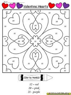valentine day worksheets color by number