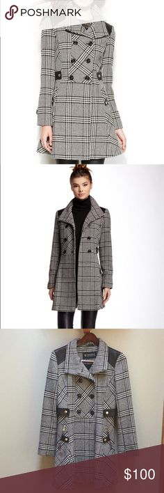 EUC Guess Plaid coat Super stylish, faux leather accents elevate Guess'. Fabulous double breasted coat. Chic plaid pattern and feminine A line silhouette make this a must have! Heavy wool blend will keep you warm and cozy. Guess Jackets & Coats