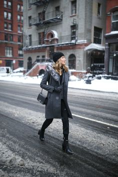 Grey Coat and Knit Joggers for a Snowy Day One of NYFW | MEMORANDUM | NYC Fashion & Lifestyle Blog for the Working Girl