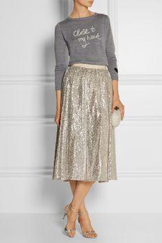 Bella Freud Close To My Heart merino wool sweater+ sequined skirt