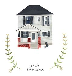 RESERVED for LINDSAY HILLEARY: Custom Illustrated House Portrait. $150.00, via Etsy.