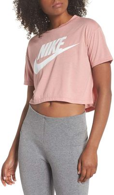 cb6eaafb Nike Sportswear Crop Top Sporty Outfits, Womens Workout Outfits, Nike  Outfits, Gym Shorts