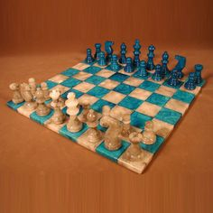 """14"""" Alabaster Chess Set, Blue/Grey Chess Board, 3"""" King"""