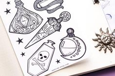 stickers grimoire planner sticker shadows witchy potion bottle witch sheet book etsy for of s Witch Planner Sticker Sheet Witchy Stickers for Grimoire Book of Shadows Stickers Potion Bottle You can find Witchcraft potions and more on our website Voodoo Tattoo, Witch Tattoo, Witch Potion, Bottle Drawing, Bottle Tattoo, Grimoire Book, Drawing Tutorials For Beginners, Tattoo Portfolio, Ink Illustrations