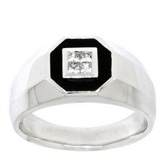 Men's Onyx & Diamond Ring 14K White Gold