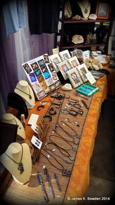 Past to Present Programs & Trading Post's booth on 9-27-14 at the Elements Art Show in Redlands, CA.  #JamesKBowden #art #blacksmith #flintknap