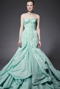 Sea Foam: Rouching and draping pastel aqua ballgown from Zac Posen resort collection spring 2015