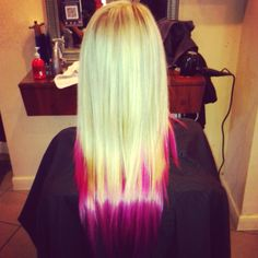Dip dye hair pink! LOVE IT! If I was a blonde it would be so much easier!!