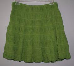 Max Studio green lined a line mini skirt womens size M #MaxStudio #ALine