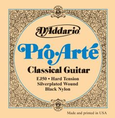 D'Addario EJ50 Pro-Arte Black Nylon Classical Guitar Strings, Hard Tension by D'Addario. $11.12. From the Manufacturer                EJ50 hard tension classical strings featuring black nylon trebles are a popular choice for their rich tone, increased resistance, and strong projection.Pro-Arte, the world's most popular classical strings are D'Addario's premium classical guitar string sets. All Pro-Arte treble strings are sorted by a sophisticated computer-controlle...