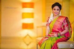 Green Kanjeevaram with Pink Contrast work blouse - sleeves length