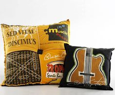 Use an old t-shirt with a cool graphic, and turn it into a stylish pillow. These pillows will be soft addition to your sofa or bed.  Source: Better Homes and Gardens