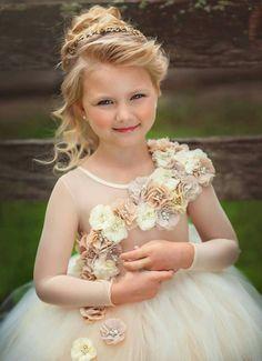 Vestido de niña de las flores ling costura marfil y beige