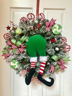 Deco Mesh Wreath Xmas Decor Candy Cane Form Elf Peppermint Happy New Year Christmas Wreaths To Make, Christmas Door Decorations, Christmas Centerpieces, Holiday Wreaths, Christmas Projects, Candy Cane Decorations, Table Decorations, Winter Wreaths, Spring Wreaths