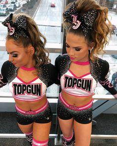 Two Top Gun Cheerleaders Cheerleading Picture Poses, Cheer Picture Poses, Cheerleading Cheers, Cheer Poses, Cheerleading Uniforms, School Cheerleading, All Star Cheer Uniforms, Cheer Team Pictures, Cheer Makeup
