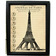 french eiffel tower graphics | ... French Art Print - Journal de Paris, Eiffel Tower -4x6 Art Print on