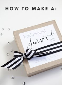 DIY bridesmaid survival kit tutorial with a free printable label from Something Turquoise.