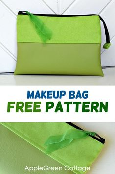 See how to sew a makeup bag using a free template for a cosmetic bag with 4 small slip pockets and a main compartment - an easy and simple design you can make fit any style. Bag Pattern Free, Tote Pattern, Sewing Patterns Free, Free Sewing, Felting Tutorials, Craft Tutorials, Makeup Bag Pattern, Cosmetic Bag Tutorial, Homemade Bags