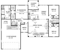 First Floor Plan of Country   Ranch   Traditional   House Plan 59016 our house plans