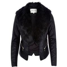 Tan faux fur collar biker jacket - biker jackets - coats / jackets ...