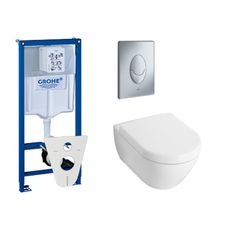 Grohe inbouwreservoir met villeroy en boch Subway 2.0 toiletpot met closetzitting en bedieningsplaat mat chroom - Sanitairwinkel.nl