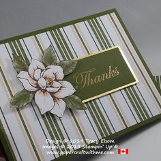 Card with striped background and magnolia image, the thanks sentiment is from the Good Morning Magnolia Stamp Set, all from Stampin' Up! www.papercraftwithme.com Slider Card, Masculine Birthday Cards, Masculine Cards, Magnolia Stamps, Fun Fold Cards, Stamping Up Cards, Sympathy Cards, Paper Cards, Flower Cards