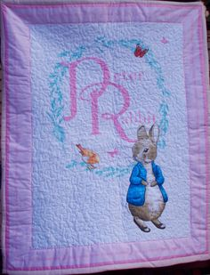 Beatrix Potter Peter Rabbit Thin Quilt Baby Blanket Blue Trim Crib ... : size of baby cot quilt - Adamdwight.com
