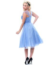 $102 Periwinkle Blue Garden State Mesh Cocktail Dress - Unique Vintage - Prom dresses, retro dresses, retro swimsuits.