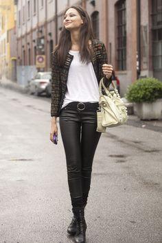 bruna tenorio tweed jacket and leather pants