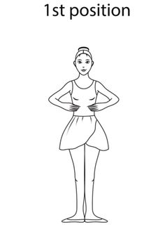 Ballet 1st Position coloring page from Ballet category. Select from 20946 printable crafts of cartoons, nature, animals, Bible and many more.