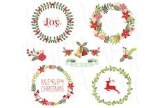 Check out Christmas Wreath Collection by YenzArtHaut on Creative Market