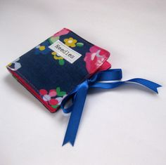 Handmade Fabric Sewing Needle Holder in Floral Print on Royal Blue £6.00
