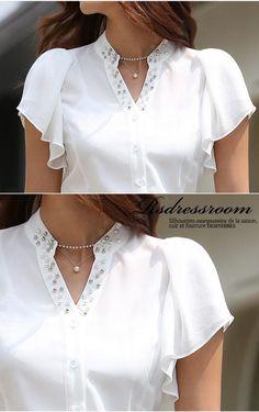 Women Elegant Slim FIT Beaded Collar Ruffles OL Career Business Blouse TOP Shirt   eBay