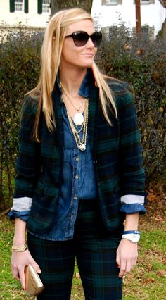 Love the plaid pants with matching jacket and denim shirt