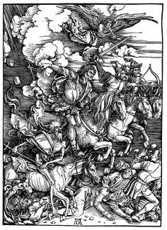 1498.IMAGE - Albrecht Durer's Four horsemen of the apocalypse. Printed at the end of the incunabula with the artistic mastery of the upcoming German Renaissance.