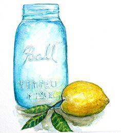 ball jar with lemon watercolor Art Print