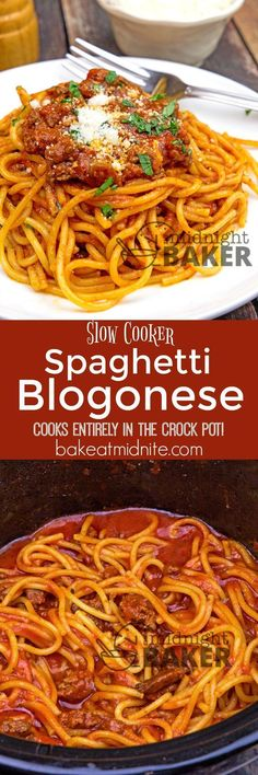 This delicious spaghetti bolognese cooks completely in your slow cooker. Kid and adult friendly and sure to become a family favorite! Best Crockpot Recipes, Slow Cooker Recipes, Beef Recipes, Italian Recipes, Great Recipes, Cooking Recipes, Favorite Recipes, Crockpot Meals, Crockpot Dishes