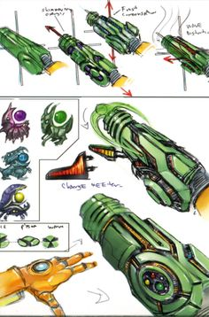 Metroid Prime Early Beam and Upgrades concept art